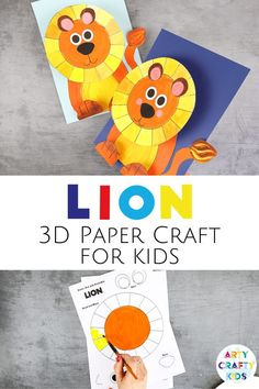 Looking for an easy preschool lion craft for kids to make in the classroom or at home? This simple 3D paper lion craft for kids is fun for children to make with our printable lion paper craft template. Get printables + instructions for this simple preschool lion craft + other jungle animal crafts for kids here! Easy Lion Crafts for Preschoolers | Preschool lion craft videos | Preschool Lion Craft Ideas | Lion Kids Crafts | Lion Arts and Crafts | DIY 3D Lion Paper Craft for Kids #preschool