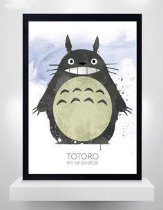 Totoro poster Watercolor Print Myadzaki movie Poster by MixPosters Watercolor Design, Watercolor Print, Totoro Poster, Poster Wall, Wall Art Prints, Art Pieces, Digital Art, Wall Decor, Art Art