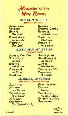 Mysteries of the rosary prayer card | school | pinterest.