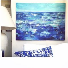I might keep this commission for myself. It looks pretty good in my house don't you think? #jk #myhouseisagallery #temporaryhome #coastalart
