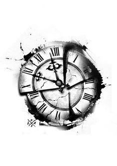 Cool Forearm Tattoos, Arm Band Tattoo, Body Art Tattoos, Cool Tattoos, Time Clock Tattoo, Broken Clock Tattoo, Half Sleeve Tattoos For Guys, Half Sleeve Tattoos Designs, Tattoo Designs