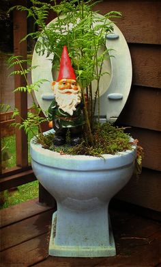 Toilet planter w/ gnome~~The ReStore can help you do this! We've got the toilets: the rest is up to you.