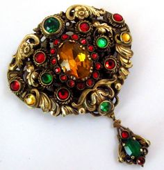 Magnificent Large Art Deco Signed Czech Flower Dangle Brooch Czechoslovakia | eBay