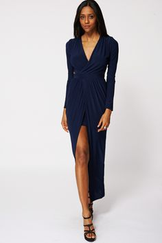 Ruched Cut Out Side Detail Maxi Dress