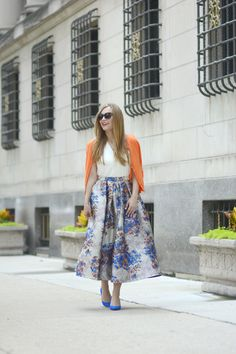 Blue Suede Shoes Floral skirt Orange Sweater