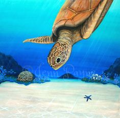 Turtle Reef is an original painting in Acrylic on board. It has been framed in a stained wooden frame to match the colours in the painting. It measures x Painted from a photo I took whil… Flotsam And Jetsam, Turtle Painting, Crystal Clear Water, Tropical Paradise, Boho Decor, Beautiful Men, Original Paintings, Colours, Art Prints