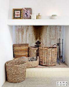 Zara Home Summer Home Decor Trends 2014: #ZaraHome Baskets at the #Fireplace - Country Lifestyle!