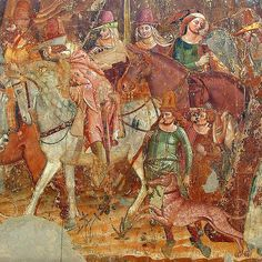 Pisa, Camposanto, Triumph of Death Medieval Hats, Medieval Life, Medieval Clothing, Tempera, 14th Century Clothing, Horse Armor, Horse Costumes, Fresco, 17th Century Art