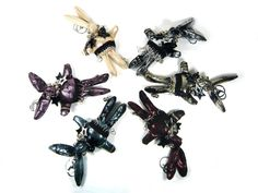 Dark Glitter Punk Rabbit Bunny Hand Bag Charm Goth Accessory Car Key Chain Ring #Jacc