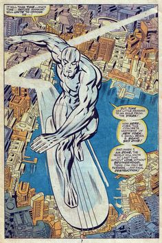 best Silver Surfer splash of all time by Jack Kirby. Not just a 'Jackson Pollock' stars-and-planets-strewn cosmos background. Lot of detail here.
