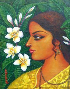 RaiKishori - Painting by Suparna Dey India Painting, Online Painting, Fabric Painting, Indian Folk Art, Indian Artist, Indian Art Paintings, Canvas Paintings, Indian Drawing, Indian Illustration