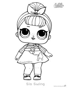 LOL Surprise Doll Coloring Pages Sis Swing - Free Printable Coloring Pages People Coloring Pages, Barbie Coloring Pages, Cute Coloring Pages, Free Printable Coloring Pages, Coloring Pages For Kids, Coloring Books, Doll Drawing, Hello Kitty Coloring, E Craft