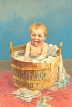 Sweetly Scrapped: Free Image Soapine Ad, Little Boy in a Wooden Tub