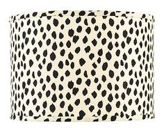 I want these!!!! Dodie-Black spotted-lampshade from Ballard Designs
