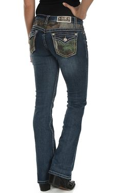 Grace in LA Women's Dark Wash with Realtree Camo Patches Button Down Pocket Boot Cut Jeans | Cavender's