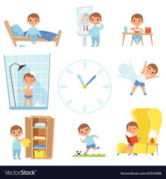 Buy Daily Routine by ONYXprj on GraphicRiver. Kids making various cases in all day. Vector child daily sleep, eat and activity illustration Daily Routine Kids, Daily Routine Activities, Learning Activities, Activities For Kids, Routine Chart, Kids Sleep, Child Sleep, Worksheets For Kids, Cartoon Kids