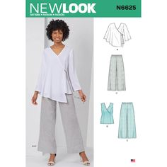New Look Sewing Pattern Misses' Tops And Pull On Pants 10 - 22 Love the vest with the crossover section. Spotlight have run out of this pattern. Butterick Sewing Patterns, Simplicity Sewing Patterns, Vintage Sewing Patterns, Clothing Patterns, New Look Patterns Sewing, Sewing Ideas, Sewing Projects, Diy Clothing, Sewing Tips