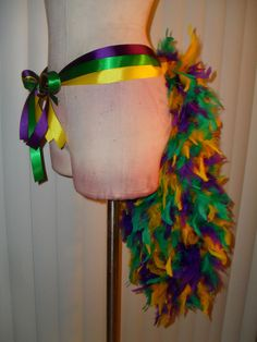 MARDI GRAS TAIL BUSTLE TUTU SHOWGIRL BURLESQUE TIE RIBBON FEATHER SKIRT COSTUME 30.00 usd