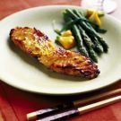 Miso Broiled Sea Bass: serve with citrus-ginger butter sauce, steamed rice, asparagus , carrot tempura (USS Nemo)