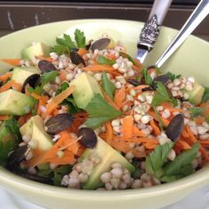 Buckwheat, Carrot and Avocado salad with fresh parsley and toasted Pumpkin seeds | Cook Eat and Smile