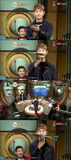 SHINee's Onew spins a laptop on 'Beatles Code 2′...Minho in the back...