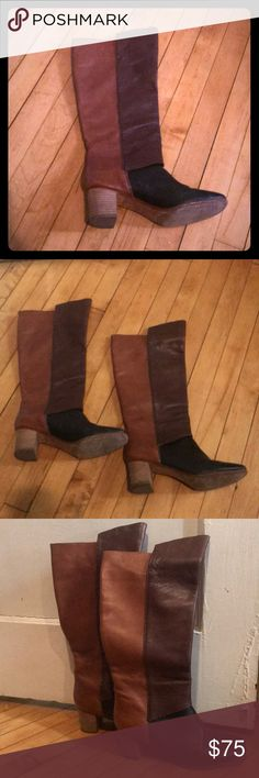 Tracy Reese Anthropologie knee high leather boots Beautiful tri-colored leather knee high boots by Tracy Reese, originally purchased at Anthropologie. Good used condition. Some wear on the soles, but the leather is soft and in great shape. The colors of the leather are black, deep brown, and cognac. The pictures don't really do them justice. I also love the pull on styling, which has worked well for my wider calves. Tracy Reese Shoes Heeled Boots