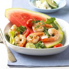 Shrimp and Watermelon Salad The refreshing taste of watermelon combined with shrimp, tomatoes, and bok choy, with a drizzle of lime juice, makes this the perfect summertime recipe to serve for lunch or a light dinner.