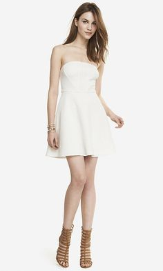 STRAPLESS TEXTURED FIT AND FLARE DRESS | Express