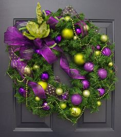 Christmas Wreath in Purple and Lime Green, Glass Ball Ornament Wreath, Holiday Wreath, Christmas Door Wreath Purple Christmas Decorations, Christmas Door Wreaths, Green Christmas, Holiday Wreaths, All Things Christmas, Christmas Themes, Christmas Holidays, Christmas Crafts, Christmas Ornaments