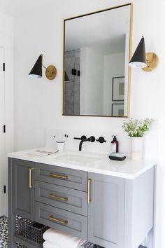 Mercer Island Project: Guest Bathroom - Small guest bathroom with dark custom vanity, gray vanity, modern traditional bathroom Modern Small Bathrooms, Guest Bathrooms, Modern Bathroom Decor, Bathroom Wall Decor, Amazing Bathrooms, Bathroom Interior, Bathroom Ideas, Bathroom Organization, Dream Bathrooms