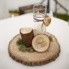 Top 14 Must See Rustic Wedding Ideas ---enchanted forest wedding reception table centerpieces -- log slices, carved initials, moss, candle, twine with dried flowers. Outdoor Winter Wedding, Woodsy Wedding, Fall Wedding, Diy Wedding, Dream Wedding, Wedding Ideas, Trendy Wedding, Wedding Country, Wedding Inspiration