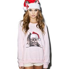 Wildfox Couture Meowy Christmas Kim's Sweater ($98) ❤ liked on Polyvore featuring tops, sweaters, pink sweater, long sleeve sweaters, long sleeve pullover sweater, pink crew neck sweater and crew-neck sweaters