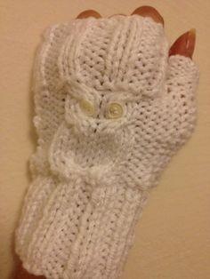 Owl figure White  Wool Fingerless Gloves Armwarmers  by NesrinArt, $21.00