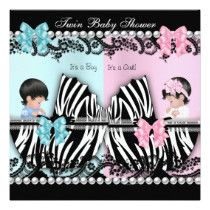 Twin Baby Shower Cute Girl Pink Boy Blue Zebra Announcement