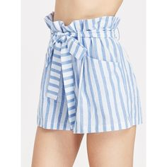 Belted Ruffle Waist Striped Shorts ($20) ❤ liked on Polyvore featuring shorts, blue, blue shorts, stripe shorts, ruffle trim shorts, flounce shorts and frilly shorts