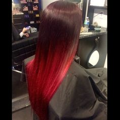 brown to red ombre - pravana