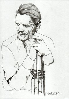 CHET BAKER - Original Signed Paul Nelson-Esch - Drawing Art Illustration - Free Worlwide Shipping