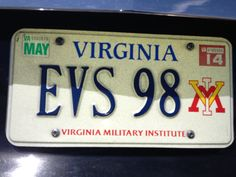 EVS 98  *If this is your license plate and you wish it removed, please contact the VMI Alumni Office: 800.444.1839  or feedback@vmiaa.org*