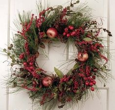 Red Berry Cluster Silk Artificial Holiday Door Christmas Wreath 22 inches Unique Front Door Wreath Decorated With Faux Fruit and Silk Evergreens For Seasonal And Winter Holiday Outdoor Decoration -- You can find more details by visiting the image link.