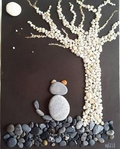 There are Beautiful Pebble Art Ideas. Stone Crafts, Rock Crafts, Diy And Crafts, Crafts For Kids, Arts And Crafts, Sea Crafts, Pebble Stone, Pebble Art, Stone Art