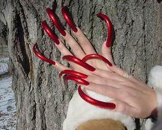 Black Stiletto Nails, Sexy Nails, Love Nails, Fun Nails, Long Red Nails, Long Fingernails, Perfect Nails, Gorgeous Nails, Long Square Acrylic Nails