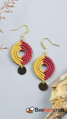 Diy Earrings Video, Macrame Earrings Tutorial, Micro Macrame Tutorial, Crochet Earrings, Macrame Patterns, Jewelry Patterns, Crochet Patterns, Crochet Rope, Diy Crochet