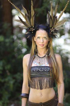 tribal headdress feather headdress earthy wig faery goddess gypsy burningman natural fashion belly dancer fantasy woodland faery www.etsy.com/shop/lotuscircle