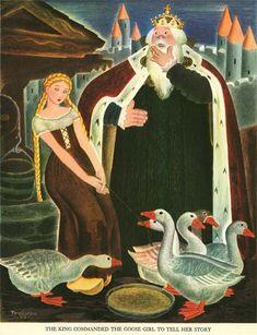 The Goose Girl -- Gustaf Tenggren -- Fairytale Illustration Grimm, Art Canard, Swedish American, Classic Fairy Tales, Children's Book Illustration, Book Illustrations, Little Golden Books, Children's Literature, New Artists