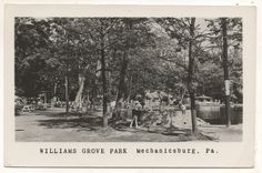 Picnic area, fountain, and pond at Williams Grove amusement park, Cumberland County PA.