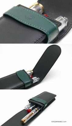 Pelikan Leather Case for 3 Pens - Black and Green