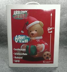 Great for Showing Your Holiday Spirit! Gemmy Xmas Teddy Bear 6 Foot Airblown Self Inflatable Lighted 15765 weatherproof #Gemmy #Teddybear