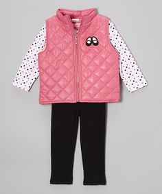 Take a look at this Pink Quilted Vest Set - Infant by Babyworks on #zulily today!