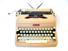 Royal Quiet Deluxe Typewriter Pinkish Tan in Original Case 1957 as Seen on ETSYLUSH
