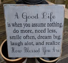 A Good Life Handpainted Wood Sign Blessing by CarovaBeachCrafts, $48.00